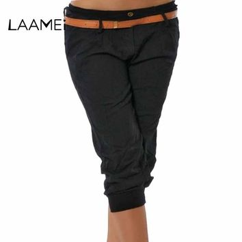 Laamei 2018 New Women Capris High Waisted Solid Pants Brand Calf-Length Bottoms Femme Vintage Solid Sweatpants Summer Autumn