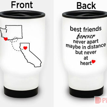 Personalized 15oz White Stainless Steel Travel Mug / designed PinkMugNY- Long Distance Relationship #1