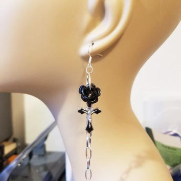 black rose cross earrings long chain dangles handmade religious jewelry #jewls6063A