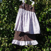 """Custom Boutique Clothing , """"Inspired by Grace"""", Pink, Paisley, Polka Dot Ruffle Outfit"""