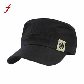 2017 Simple Korean style Fashion Unisex Flat Roof Military Hat Cadet Patrol Bush Hat Baseball Field Cap Hot Selling high quality