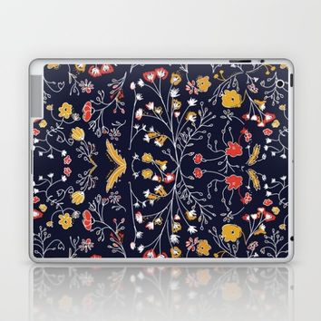 Flowers Pattern Dark Laptop & iPad Skin by aljahorvat