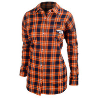 Denver Broncos Wordmark Long Sleeve Women's Flannel Shirt by Klew