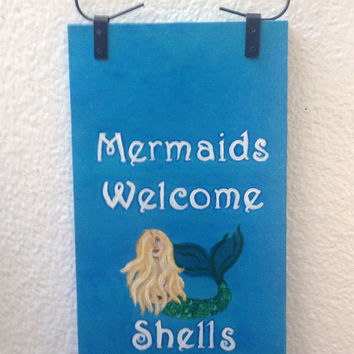 MERMAIDS Welcome Shells Optional, Reclaimed Wood Hand-Painted indoor/outdoor sign FREE Shipping