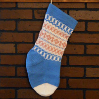 Baby's First Hand Knit Christmas Stocking, Traditional Fair Isle Design in Blue, Pink and White, Baby Boy Shower Gift, Personalized