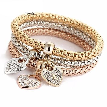 3PCS Set Crystal Heart Bracelet