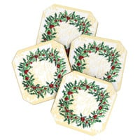 Madart Inc. Holly Wreath Coaster Set