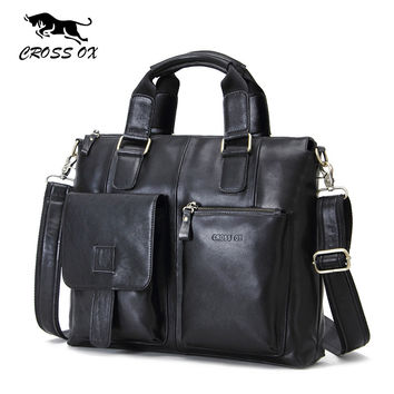 Spring New Genuine Wax Leather Men's Satchel Handbags For Men Shoulder Bags Briefcase 15' Laptop Bag