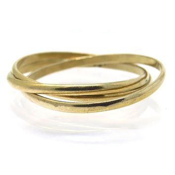 Triple Interlocked Band Ring, Vintage, 1930s to 1980s