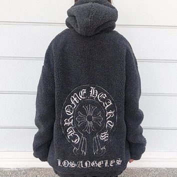Chrome Hearts New fashion embroidery pattern artificial plush hooded couple long sleeve top sweater Gray