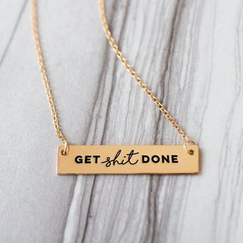 Get Shit Done Goal Setting Gold / Silver Bar Necklace