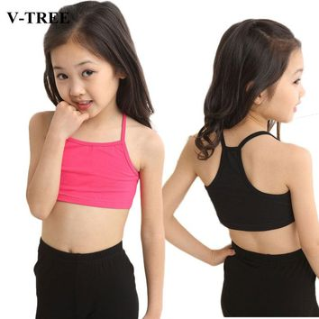 V-TREE Girls Bra camisole girl cotton vest child world of tank girls underwear candy color girls tank tops kids clothing models