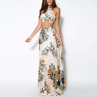 Summer Women Bandage Floral Casual Beach Two Piece Crop Top+Long Skirt Set