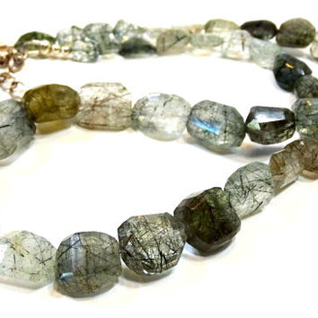 OOAK Tourmalated quartz nugget necklace, AA faceted gemstone necklace, smoky quartz jewelry, tourmaline necklace