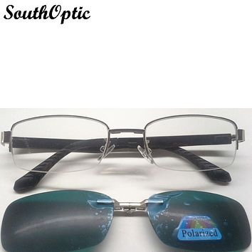 Stylish Clip On Sunglasses With Popular Half Rim Optical Driving Outdoors Sunglasses Clips Magnetic Optical Frame 675