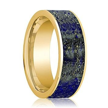 Mens Wedding Band 14K Yellow Gold with Blue Lapis Lazuli Inlay Flat Polished Design