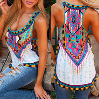 Fashion Sexy Women Tee Summer Vest Sleeveless Crop Top Sleeveless Shirt Geometric Print Casual Tops T-Shirt Plus Size