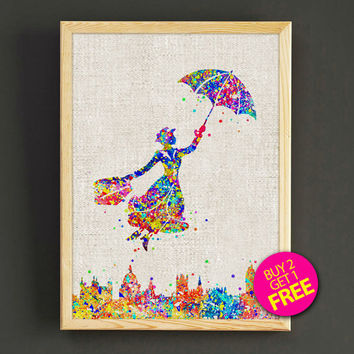 Mary Poppins Watercolor Art Print Disney Poster House Wear Wall Decor Gift Linen Print - Disney - Buy 2 Get 1 FREE - 75s2g