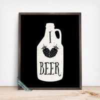 I Love Beer Print, Typography Poster, Beer Print, Wall Art, Kitchen Art, Home Decor, Bar Wall Decor, Beer Lover, Mothers Day Gift