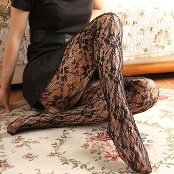 NEW Summer Sexy Women Tights Rose Flower Lace Mesh Tights Women Hollow Out Woman Pantyhose Stockings Net Collant Silk Stocking