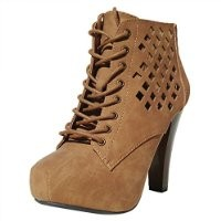 Qupid Puffin-62 Bootie Boots, Camel Pu, 10