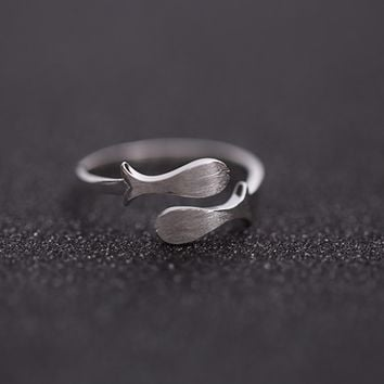 925 sterling silver cute little fish open adjustable ring