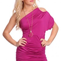 Magenta One Bare Shoulder Ruched Sexy Party Mini Dress