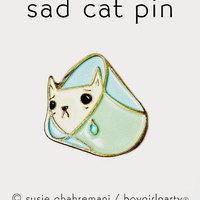 SAD CAT PIN - cat enamel pin, cone of shame cat jewelry, cat birthday gift, cat collar pin, funny jewelry, funny cat gifts, enamel pin funny