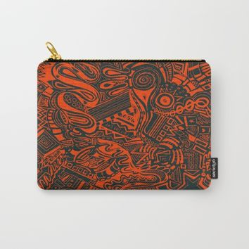 Inky - Orange & Green Carry-All Pouch by DuckyB