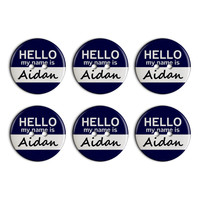 Aidan Hello My Name Is Plastic Resin Button Set of 6