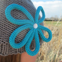 Women's flower decal hat - color choice, hand knit, made to order