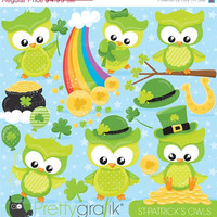80% OFF SALE St-patrick's owls clipart commercial use, st-patrick vector graphics, digital clip art, digital images - CL814