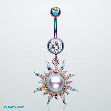 Radiant Blazing Sun Belly Button Ring