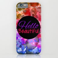 HELLO BEAUTIFUL Colorful Art Typography Inspirational Abstract Watercolor Painting Ombre Rainbow iPhone & iPod Case by EbiEmporium
