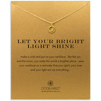 let your bright light shine sun and moon necklace, gold dipped
