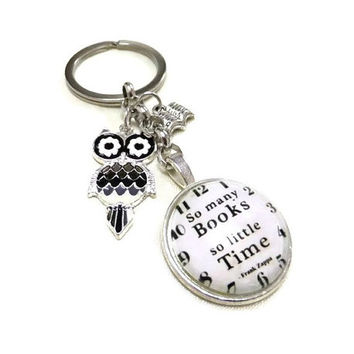 Book Quote Cabochon Charm/Keyring with Owl and Book Charms, Booklovers Keyring, Book and Owl Key Chain, Teachers Gift,Readers Gift,Cabochon