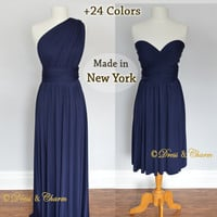 Navy infinity dress, bridesmaid convertible wrap party dresses, multi wear dress, evening dress