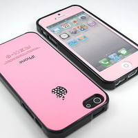 GNJ New Highest Pink swarovski gloss case cover+Pink color film for iPhone 5 5G