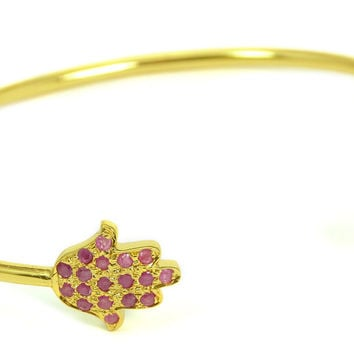 Red Ruby Chai Hamsa Talisman Bangle
