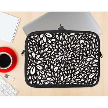 The Black Floral Sprout Ink-Fuzed NeoPrene MacBook Laptop Sleeve