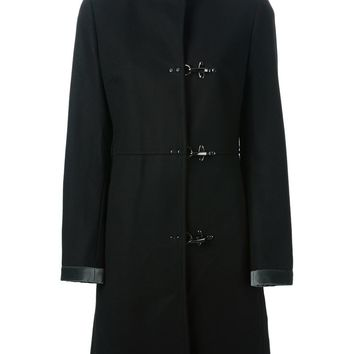 Fay hook and eye fastening coat