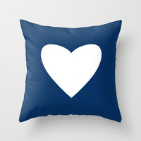 Navy Blue Heart Throw Pillow by M Studio
