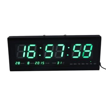 Digital LED Alarm Calendar Clock, Large Display Snooze Wall Clock With Thermometer and Temperature Display