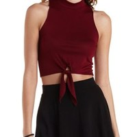 Burgundy Sleeveless Knotted Mock Neck Crop Top by Charlotte Russe