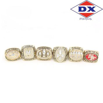 Drop shipping 6pc/set 1981/1984/1988/1989/1994/2012 49ers Championship Rings set With Wooden Box For SF Fans  Support for custom