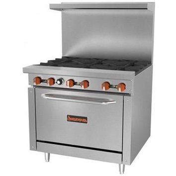 Commercial Kitchen 6 Burner Gas Range with Oven 212,000 BTU