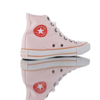 "Converse Chuck Taylor All Star Core Hi classic neutral high-top canvas leisure sports shoes ""light pink"" 13"