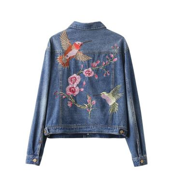 Women fashion vintage floral bird animal single-breasted embroidered denim jacket loose long sleeve drop shoulder coat S-L