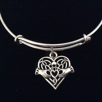 Celtic Heart Claddagh Expandable Charm Bracelet Adjustable Silver Bangle Wedding Anniversary Gift