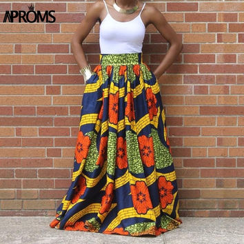 Women African Print Maxi ,Casual High Waist  A-Line Skirts